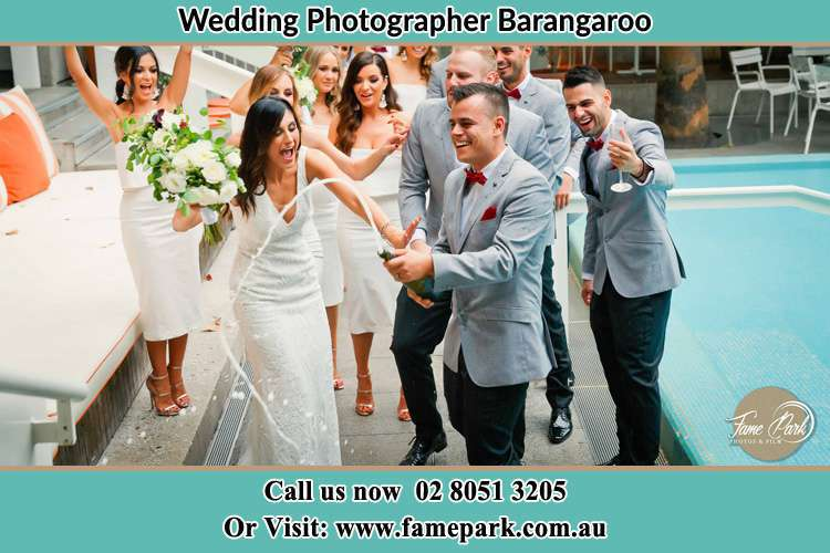 Bride and Groom Party at the poolside Barangaroo NSW 2000