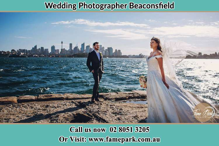 Bride and Groom near the shore Beaconsfield