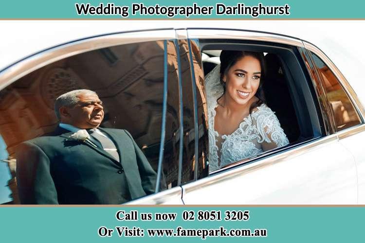 Bride inside the bridal car Darlinghurst NSW 2010