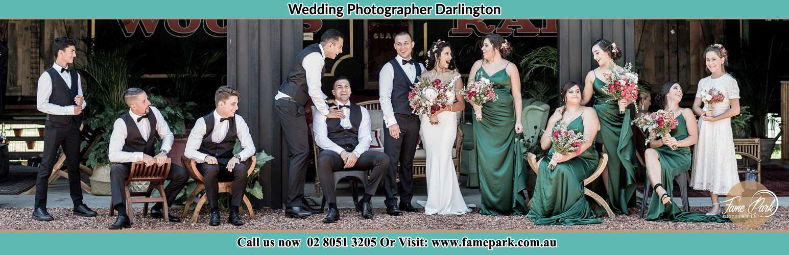 Bride and Groom and their sponsors at the receiving area Darlington NSW 2008