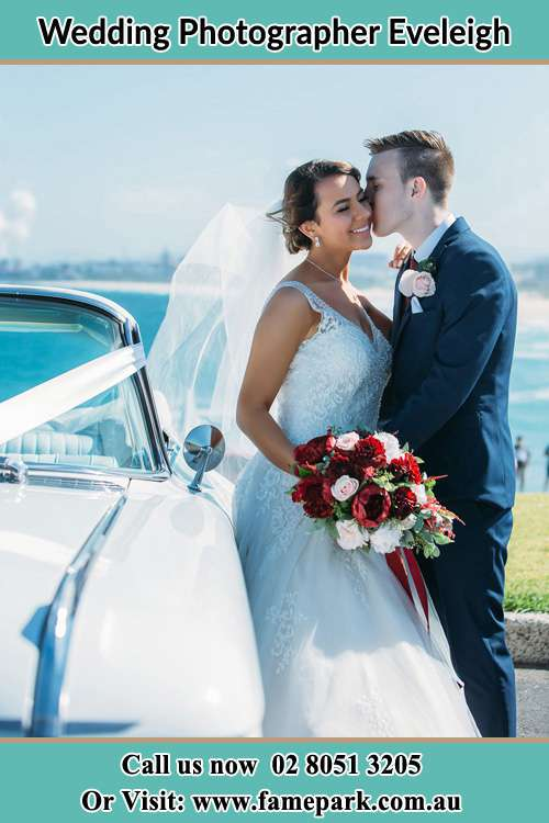 Bride and Groom beside the bridal car Eveleigh NSW 2015