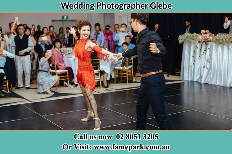Bride and Groom dance in the dance floor Glebe