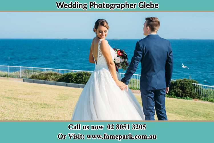 Bride and Groom near the shore Glebe NSW 2037