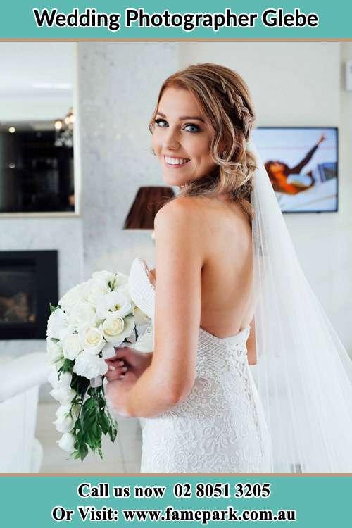 Bride on her Wedding Gown Glebe NSW 2037