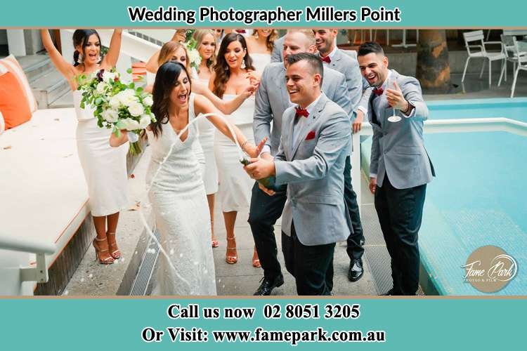 Bride and groom Party at the poolside Millers Point NSW 2000
