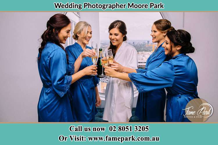Bride and her Bride's maid making a toast Moore Park NSW 2021