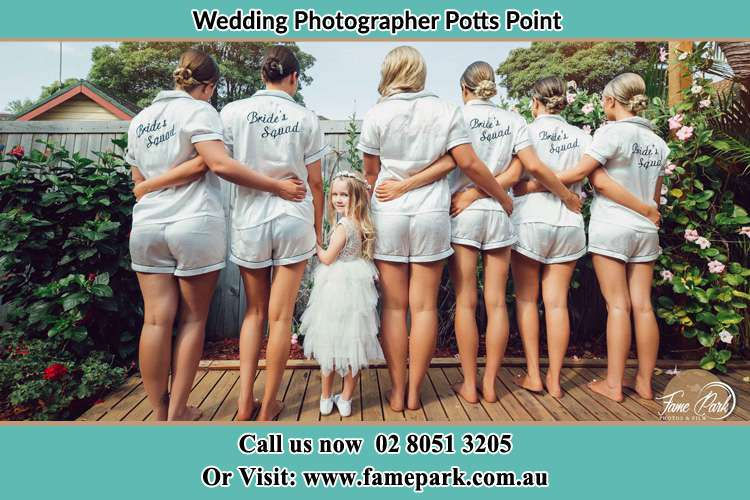 Bride and her bride's maids at the garden Potts Point NSW 2011