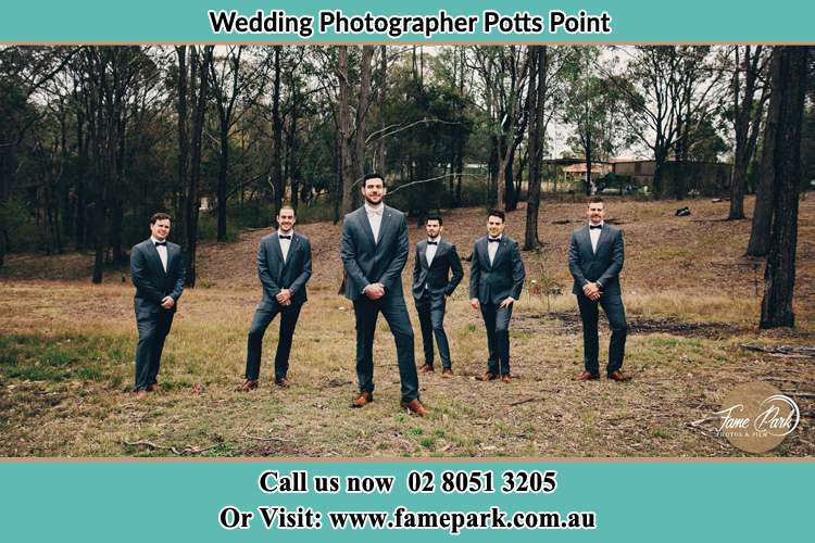 Groom and his secondary sponsors at the bush Potts Point