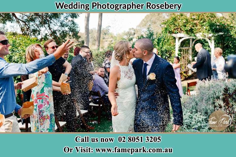 Bride and Groom kissed after the ceremony Rosebery NSW 2018