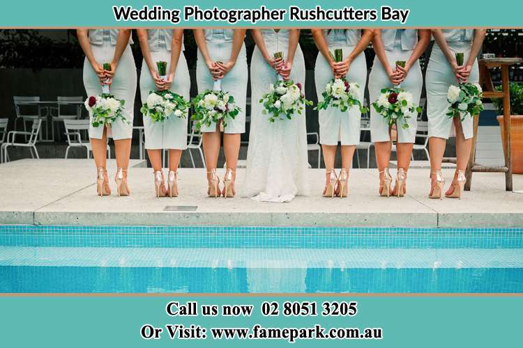 Bride and her Bride's maids at the poolside Rushcutters Bay NSW 2011