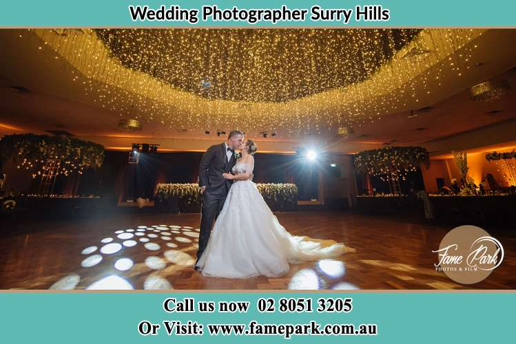 The Bride and Groom dance at the dance floor Surry Hills