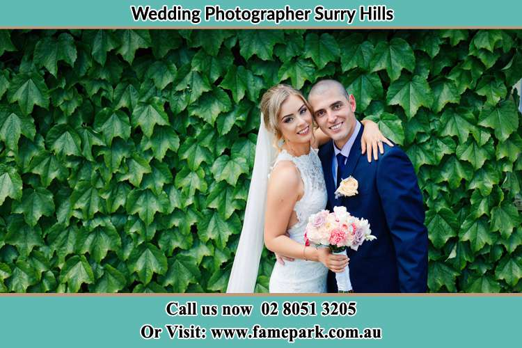 Bride and Groom at the garden Surry Hills NSW 2010