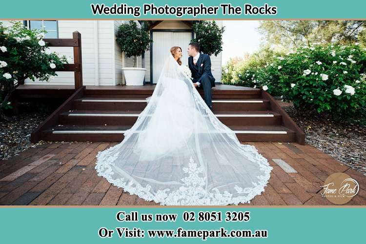 Bride and Groom sitting on the staircase The Rocks NSW 2000