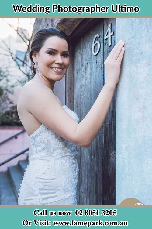 Bride in front of a house Ultimo NSW 2000