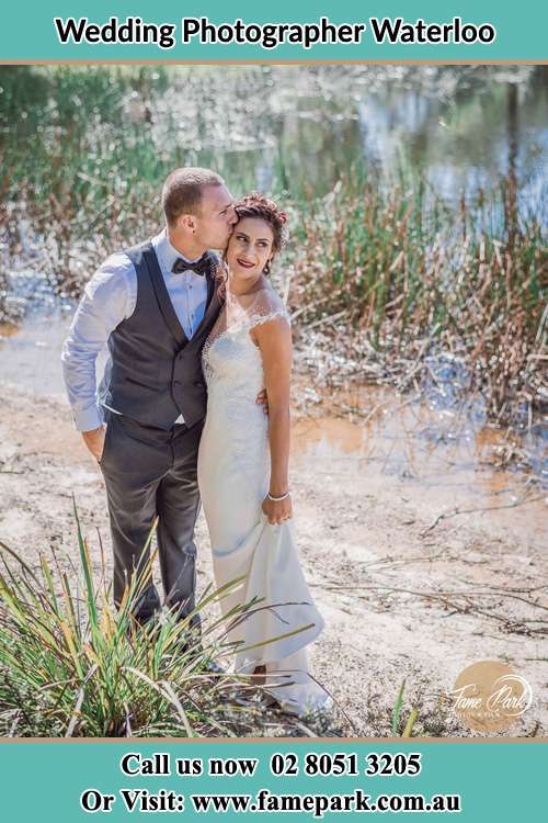 Bride and Groom at the lake shore Waterloo NSW 2017