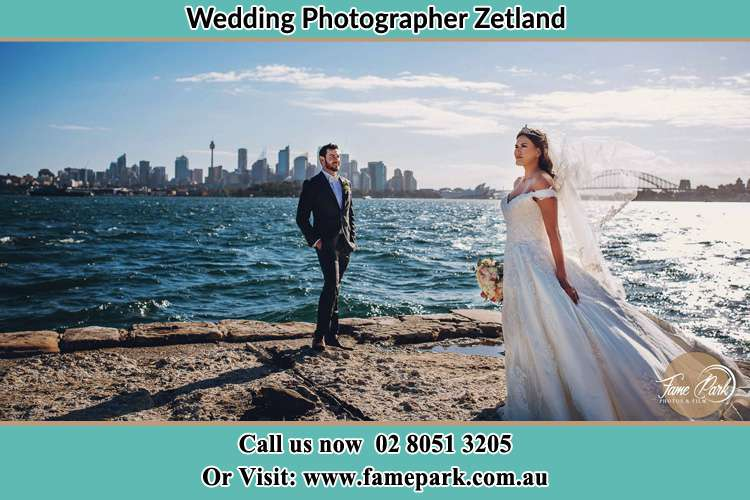 Bride and Groom at the seashore Zetland NSW 2017